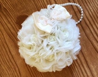 "Flower Ball Ivory Rose Kissing Ball 5"" Pomander Choose Bow Color Flower Girl Bouquet Bridesmaid Bouquet Free Hair Pin Wedding Flowers"