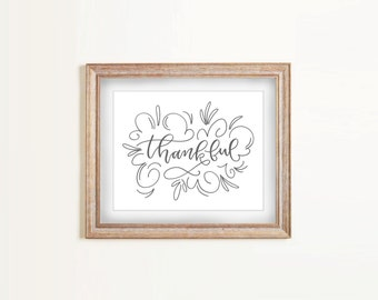 SALE Print - Thankful | Hand Lettering, Swirl Design, Modern Calligraphy Art Print, Thanksgiving, Home Decor