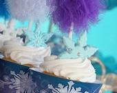 Lavendar Glitter Tulle Pom- Cupcake pom- Tulle pom- Cupcake topper- Pom pom- Royal party- Glitter pom - Easter party