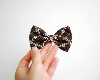 Brown Retro Bow Hair Clip Retro Bow Tie Clip On Gift For Girl Christmas Gift