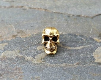 Gold Skull Head Bead Vertical Hole Antiqued Gold Pewter C150,goth skull bead,skull beads,gold skull bead,3D skull bead,vertical skull bead