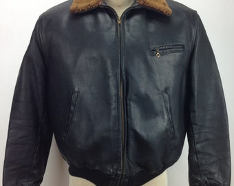 Vintage 1940's Horsehide Black Leather Jacket /  Shearling wool Lining / Men's LARGE