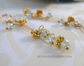 Dainty light weight Vermeil(24k gold plated) beads Aquamarine gemstones vermeil drop earrings Beaded gemstone earrings Vermeil semi precious