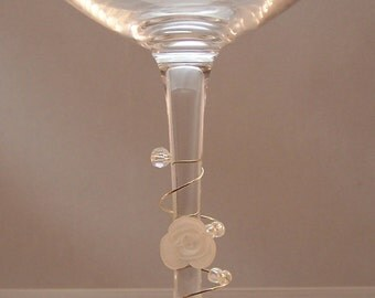 Rose Wine Charms, Set of 6 Wrap Around Stem, House Warming Gifts, Host Hostess, Wine Tasting, Spiral Glass Markers, Elegant Stemware, Flower
