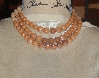 Vintage Plastic Tan Bead Jewelry Set West Germany 3 Strand Necklace and Tan Cluster Bead Earrings Signed W Germany