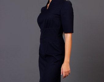 V neck pencil dress, office dress in checked dark blue color, Career navy dress