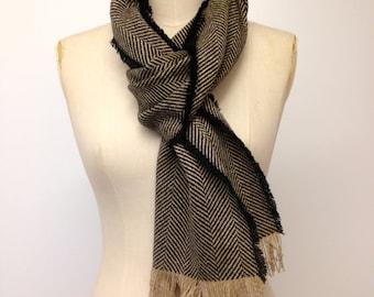 Gift for him - Wool Scarf - Beige Black Herringbone Scarf - Mens Scarf - Winter Scarves Shawls Accessories Mens -Handmade Gifts - Made in UK