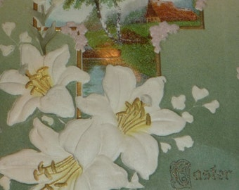 Pretty White Easter Lilies and Cross Unused Antique Easter Postcard