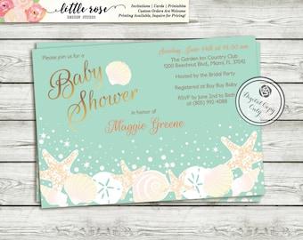 Beach Baby Shower Invitation - Gender Neutral Baby Shower Invitation - Under the Sea - Bridal Shower Invitation - Printable - LR1004