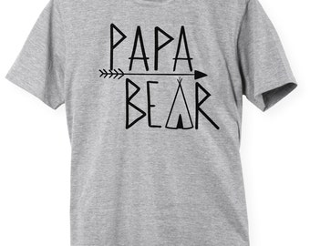 Papa Bear Shirt First Fathers Day Gift Ideas T Shirt Tee Present New Daddy Baby Shower Grandfather Pop-Pop Dad Grandpop Granddad Pop Papa