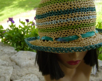 "Straw hat/""sassy"" BoHo hat women/crochet hat new/ teal + lime striped raffia hat/SWITCH-OUT ribbon option/seaside colors/summer hat/cute hat"