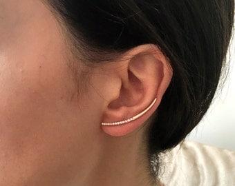 Rose Gold Ear Climber - Modern Earring - Handmade Ear Climbers- Minimalist Sterling Silver Ear Climbers - Silver Ear Cuff -  Ear Climbers