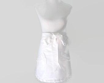 Womens White Half Apron, White Ruffled Half Apron, White Half Bride Apron, Half White Apron for Bridesmaid, Dressy White Half Apron