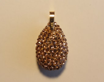 14k Gold Bail Smokey Topaz Color Crystal Sparkly Two Sided Large Drop Pendant 2.71g
