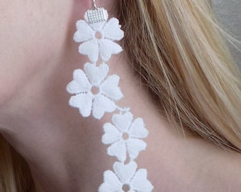 Fiori Fleur White Lace Earrings