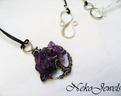 Tree-of-Life silver pendat with Amethyst leaves. Birthstone for Scorpio and Pisces. Bound to the Chakra Ajna or Third Eye. Made in Italy
