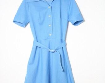 vintage nautical dress polka dots size M blue white