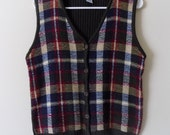 Sweater Vest, 80s Sweater Vest, Cabin Creek, Olive Green, Plaid Sweater Vest, Size Small, Norm Core, Womens Vintage Clothing, 1980s, 80s