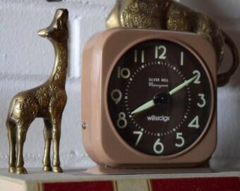 Vintage Clock - Westclox Silver Bell Monogram Alarm Clock - Manual Wind Up - 100% Working