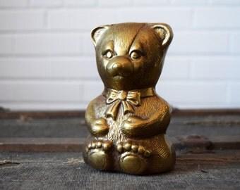 Brass Teddy Bear Piggy Bank