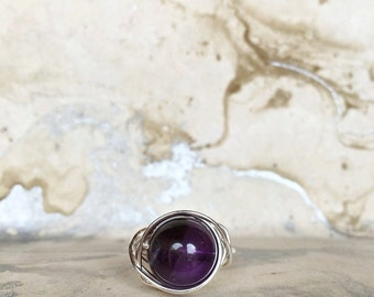 Sterling Silver Wire Wrapped Ring with Amethyst Gemstone   Boho Rings   Womens Rings   Statement Rings   Silver Rings