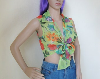 FLORAL SLEEVELESS TOP -blouse, clueless, front knot, hippie, boho, indie, summer, festival, transparent, green, crop, tank, cute-