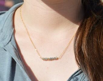 Labradorite Necklace, Gem Bar, Dainty 14k Gold Fill, Sterling Silver, Rose Gold, Gray Necklace, Faceted Labradorite, Bar Necklace, Gold