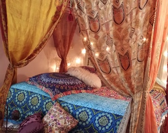 Bed Canopy by HippieWild MADE TO ORDER  Bohemian Gypsy India Silk Saree Sari Moroccan Dream Bedroom Decor