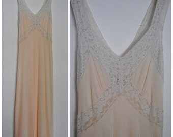 Vintage 40s Radelle Nightgown - 1940s Rayon Nightgown Cut on the Bias
