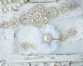 Wedding Garter Set, Bridal Garter Set, Vintage Wedding, Lace Garter, White Garter Set, White Wedding Garter, White Bridal Garter - Style 520