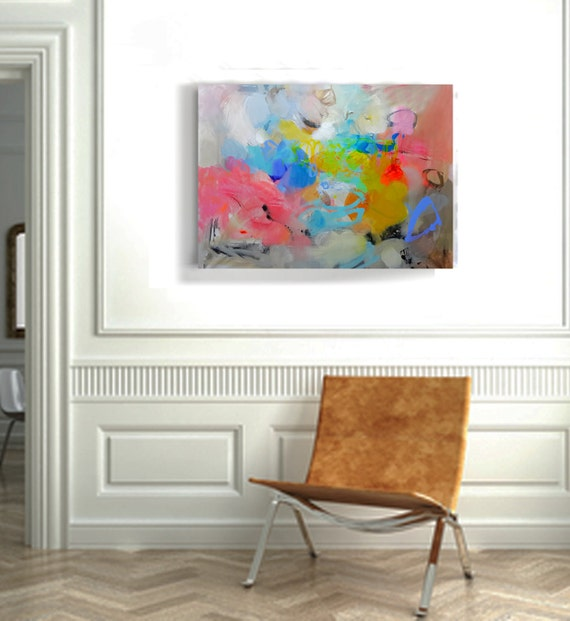 Wall art on canvas original abstract acrylic painting large for Best paintings for living room