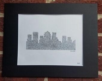 Black and White Boston Skyline Print