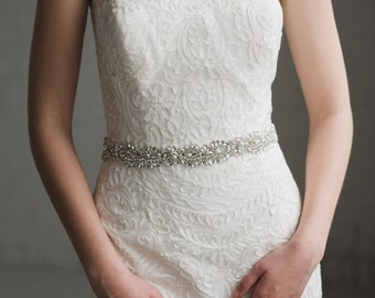Crystal Bridal Sash | Thin Rhinestone Wedding Belt | Silver Bridal Belt Sash | THE LYDIA