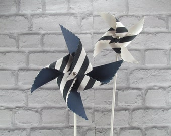 handmade pinwheel fabric and paper in navy blue color