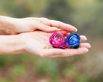rannculo rosa fsia y azul cobalto para el cabello mujer y nia flor pin
