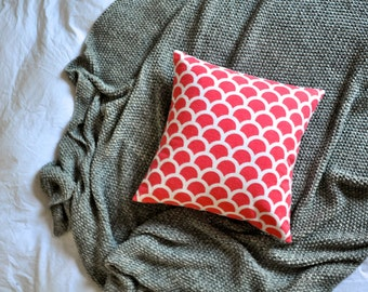 Coral And White Geometric Semi Circles Envelope Cushion Cover