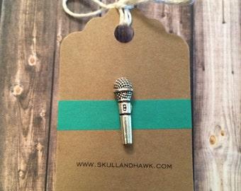 Microphone Lapel Pin / Tie Tack - Antique Silver Tone