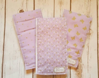 Burp Cloth, Girls Burp Cloths, Purple, Girl, Baby Shower Gift, Purple Burp Cloths, Baby Girl, SET OF 3