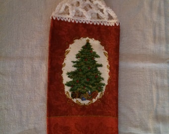 Christmas Tree with Star Hanging Kitchen Towel