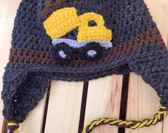 Crochet Dump Truck hat with earflaps and braids.| All sizes available | Customizable