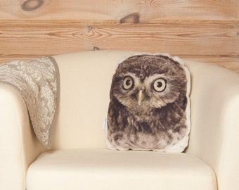 Stuffed Owl Pillow, bird lover gift, owl gifts for women, gifts for her, woodland owl plush, woodland nursery decor, forest animals