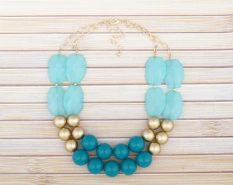 Gold Double Strand Necklace, Double Layer Statement Necklace, Teal Green & Turquoise Chunky Necklace, Color Block Green Bib Choker Necklace