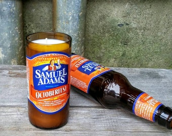 Sam Adams Octoberfest Beer, Recycled Scented Candle - Perfect Boston Fall Decor