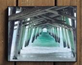 Emerald Isle, NC, Bogue Inlet Pier photo on canvas, multiple sizes, beach art, beach house decor, Crystal Coast, desk or cubicle art