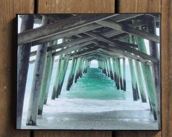 Emerald Isle - pier photo - Bogue Inlet Pier - photo canvas, canvas photo - pier canvas photo - beach art - beach house art - Crystal Coast