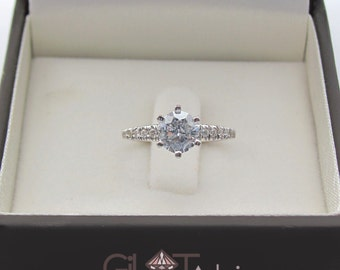 Big diamond engagement ring, White gold engagement ring with 1 carat diamond and pave setting, 1 carat diamond ring, Unique engagement