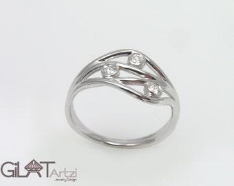 White Gold Engagement ring,Diamond Ring,Past Present Future Ring, Diamond PPF ring,ppf engagement ring,Past Present Future
