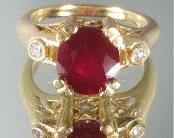 14K Solid Yellow Gold Ruby & Diamond Solitaire Ring Retro Vintage