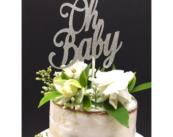 Oh Baby Cake Topper, Script Font Cake Bunting, Baby Shower Party, New Baby, gold baby shower, Oh Baby