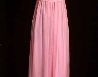 Vintage 60's Pink Chiffon and Lace  Maxi           VG189